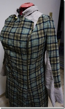 Washed wool coat - basted front view